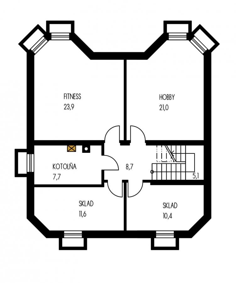 Pôdorys Suterénu - Klasický rodinný dom so suterénom a izbou na prízemí.