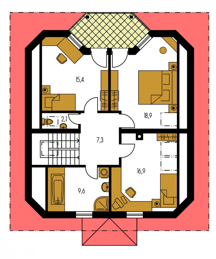 Pôdorys Poschodia - Klasický rodinný dom so suterénom a izbou na prízemí.
