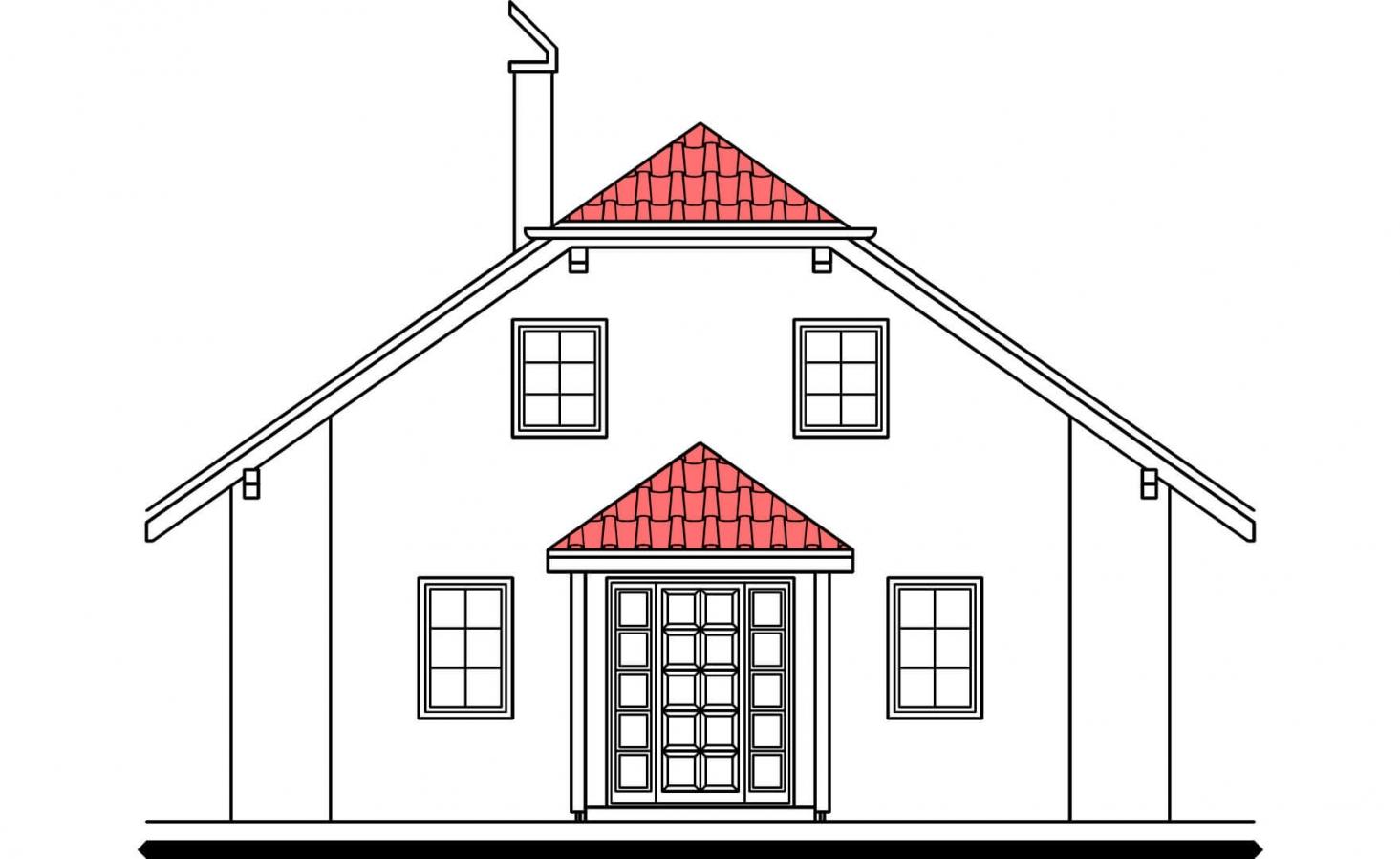 Pohľad 1. - Klasický rodinný dom so suterénom a izbou na prízemí.