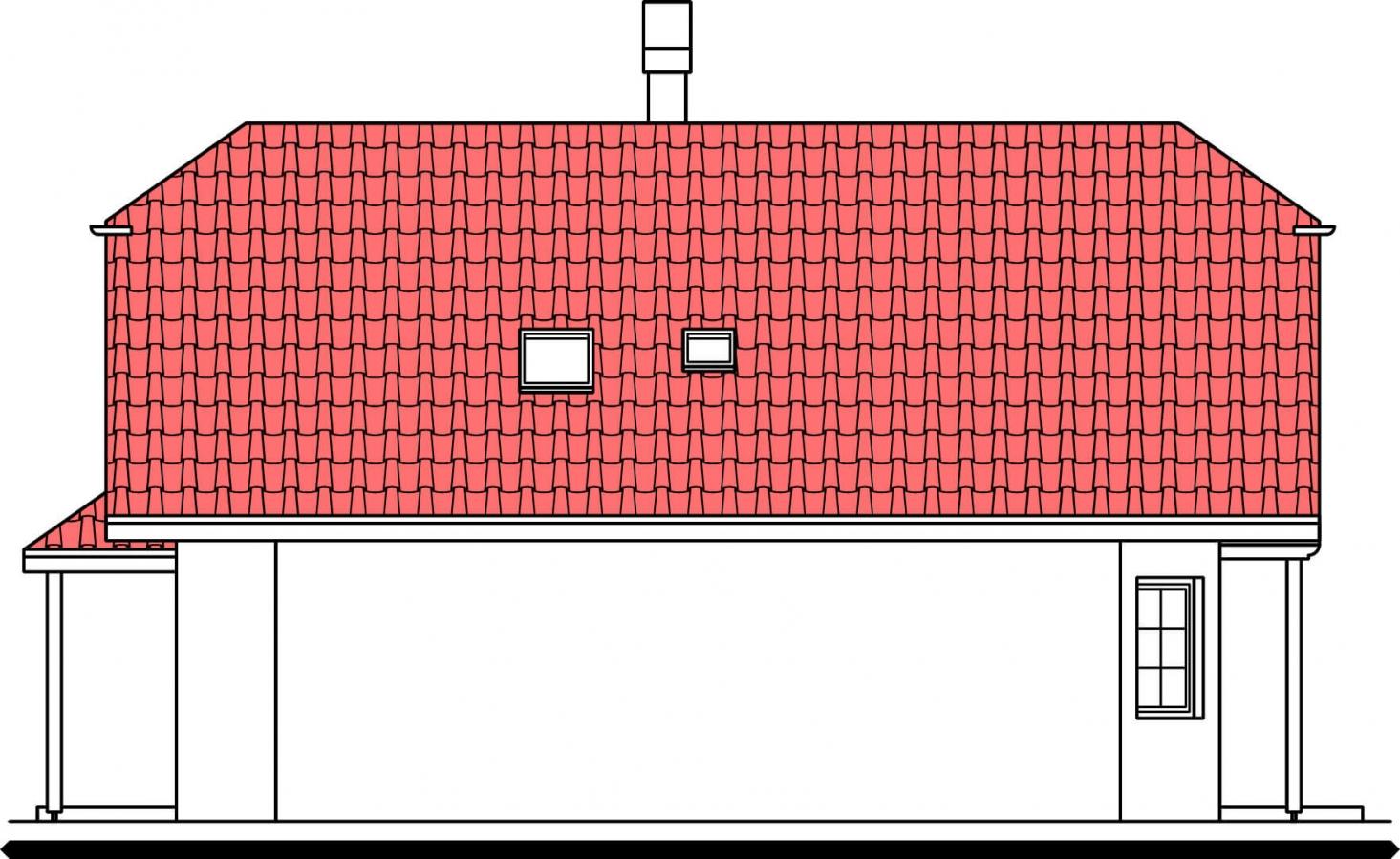 Pohľad 2. - Klasický rodinný dom so suterénom a izbou na prízemí.