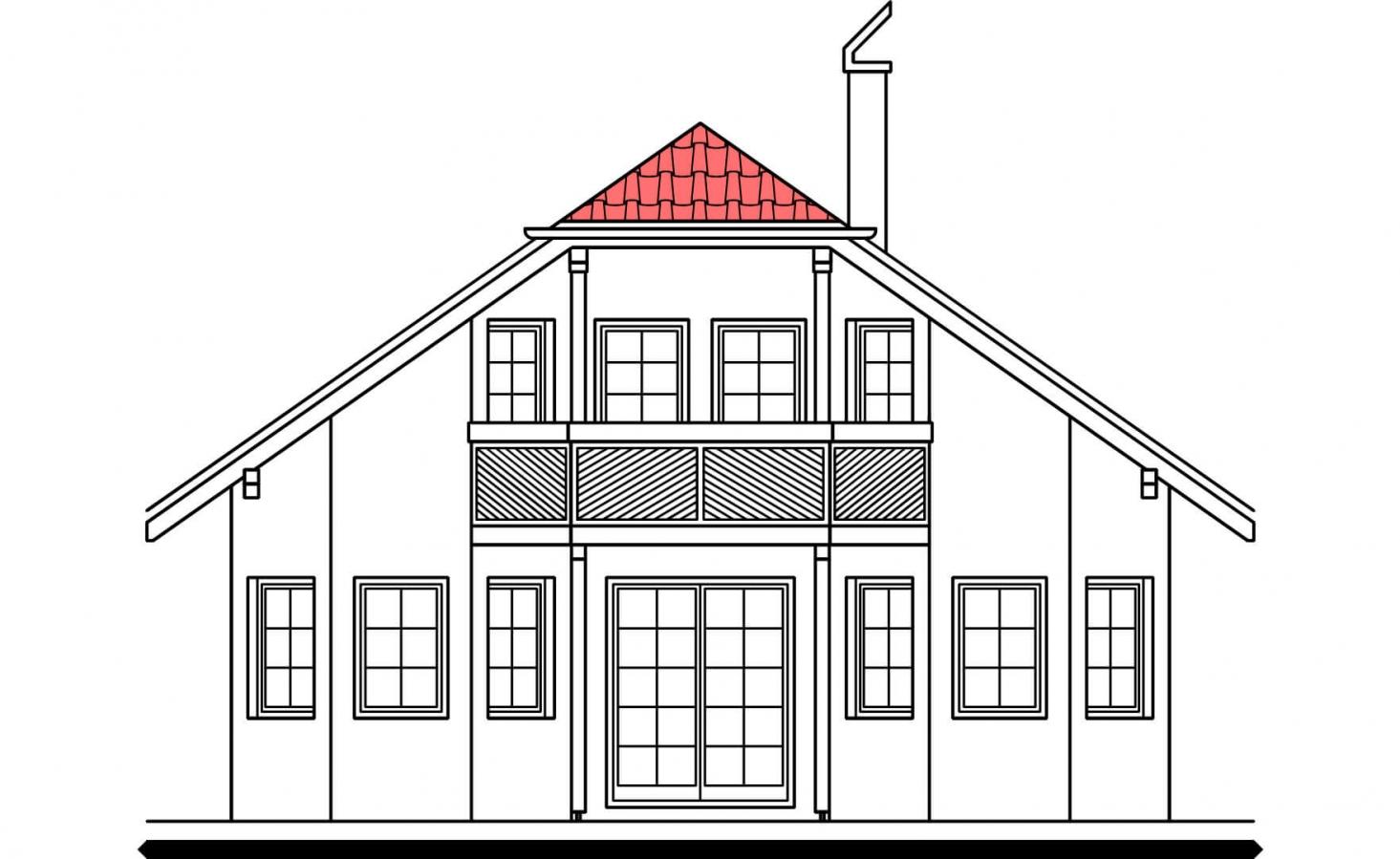 Pohľad 3. - Klasický rodinný dom s izbou na prízemí.