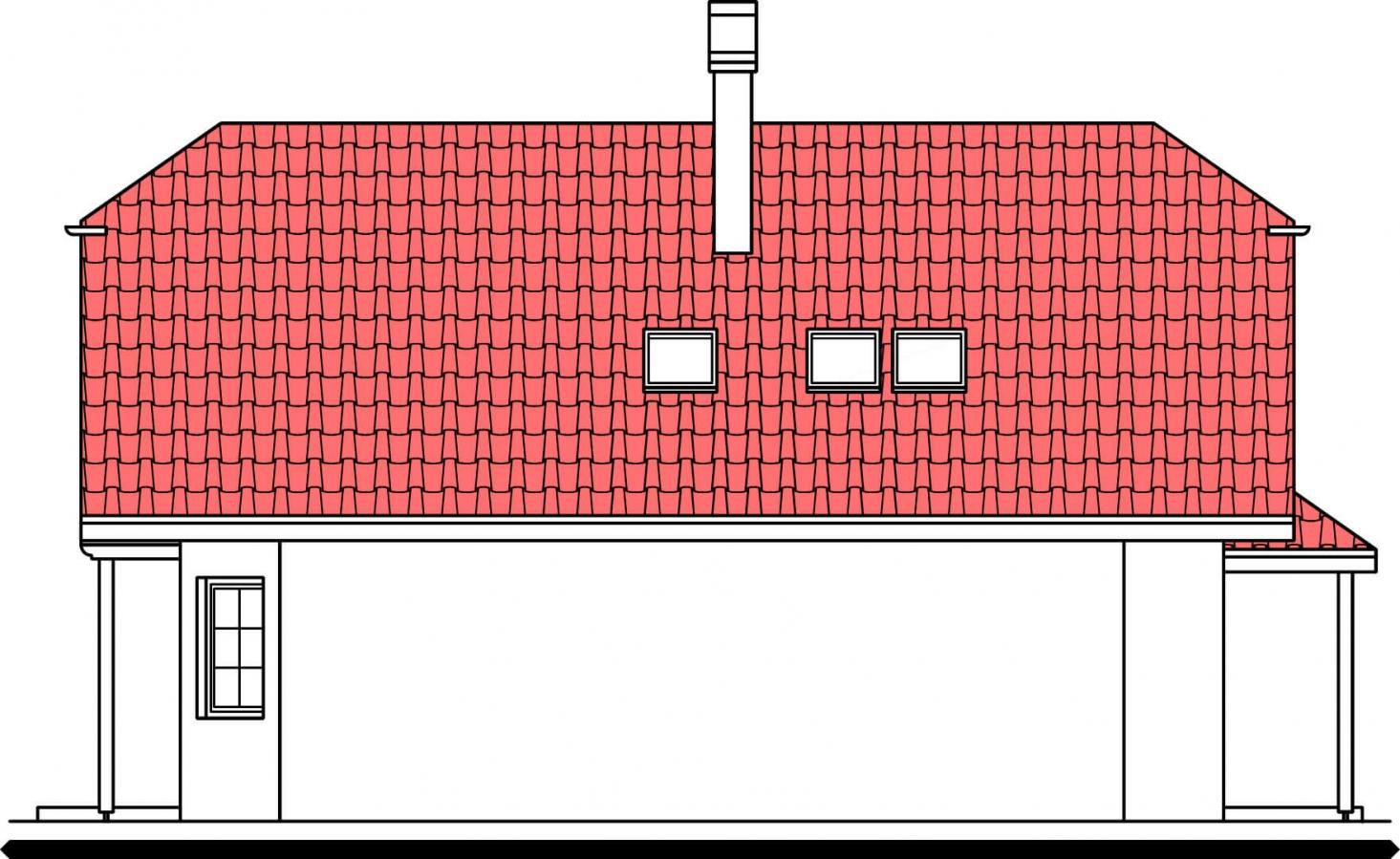 Pohľad 4. - Klasický rodinný dom so suterénom a izbou na prízemí.