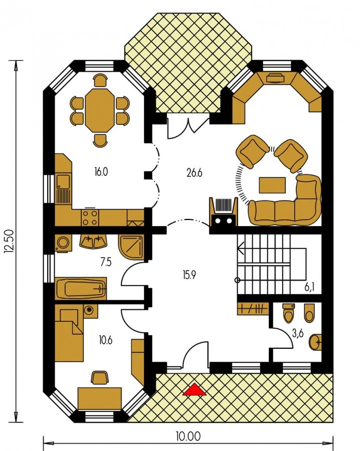 Pôdorys Prízemia - 5-izbový dom so suterénom a izbou na prízemí.