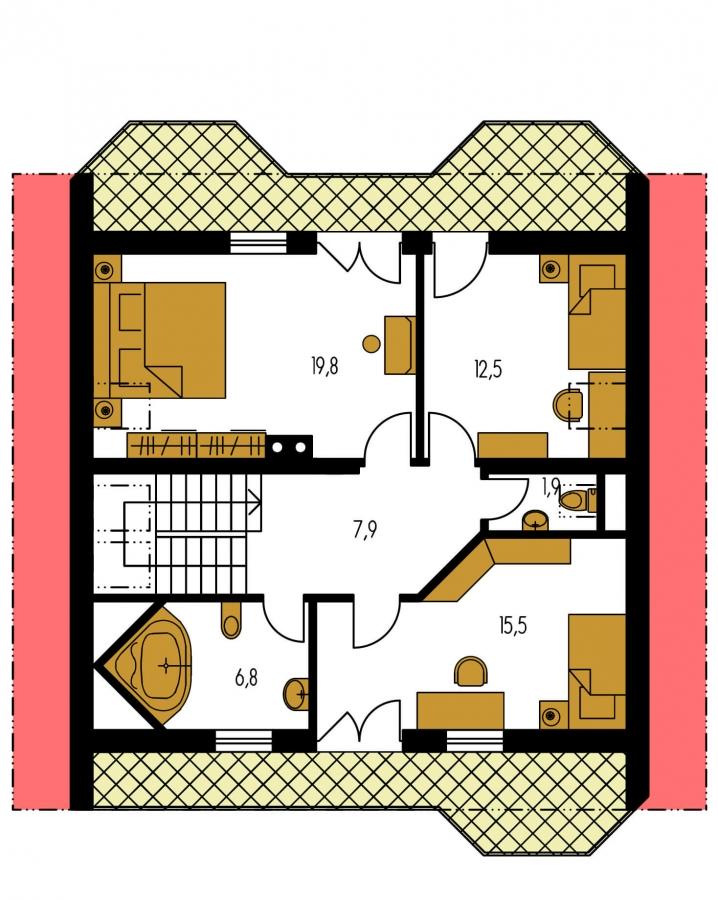 Pôdorys Poschodia - 5-izbový dom so suterénom a izbou na prízemí.