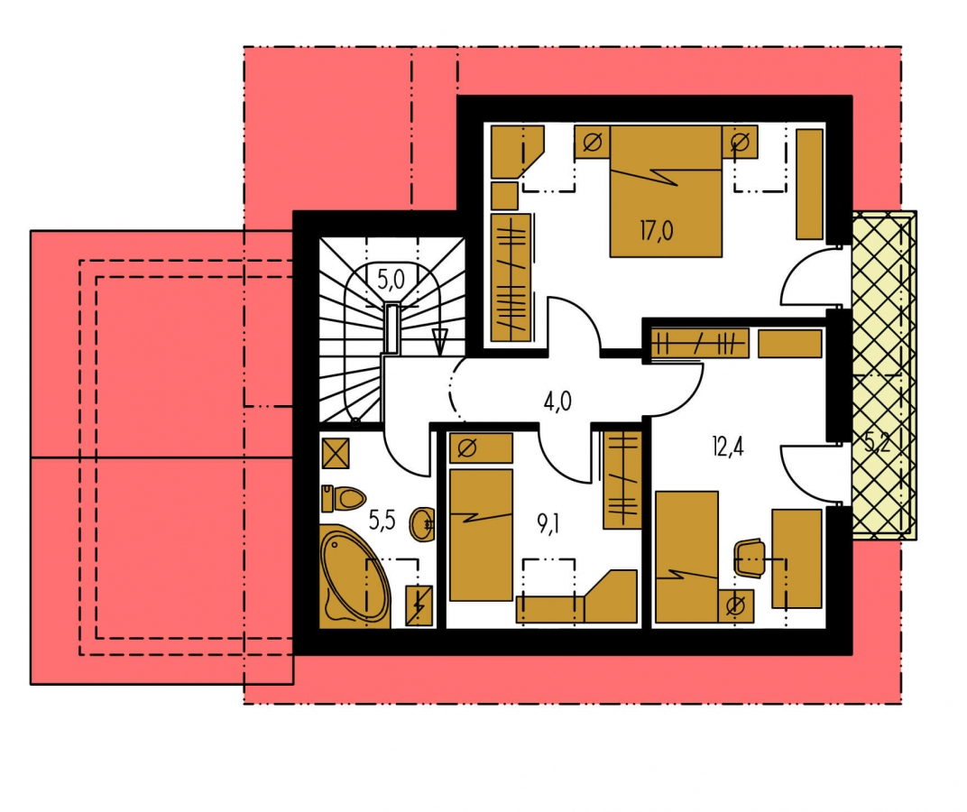 Pôdorys Poschodia - Dom s garážou vhodný aj ako dvojdom.