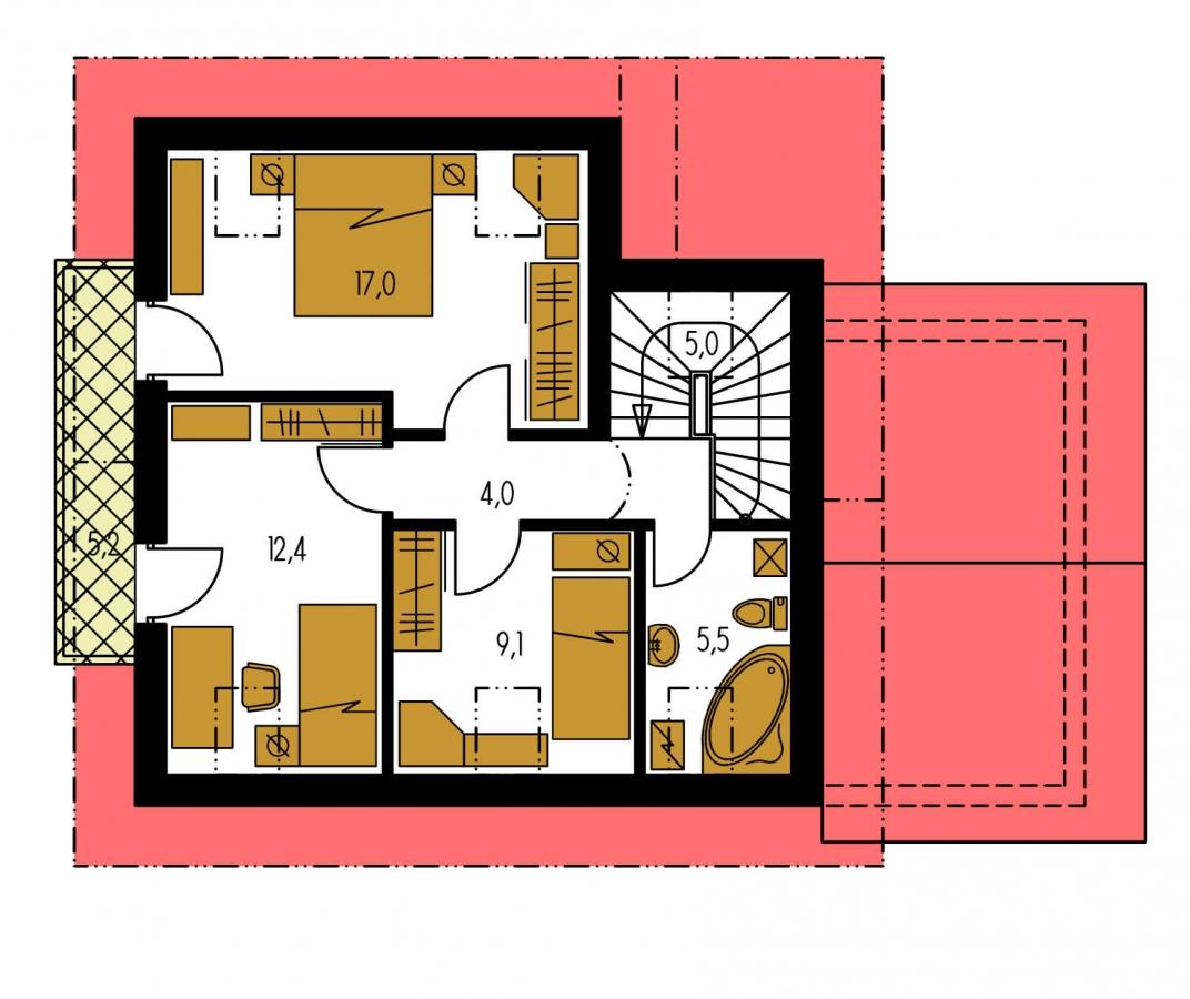 Pôdorys Poschodia - Dom vhodný ako dvojdom