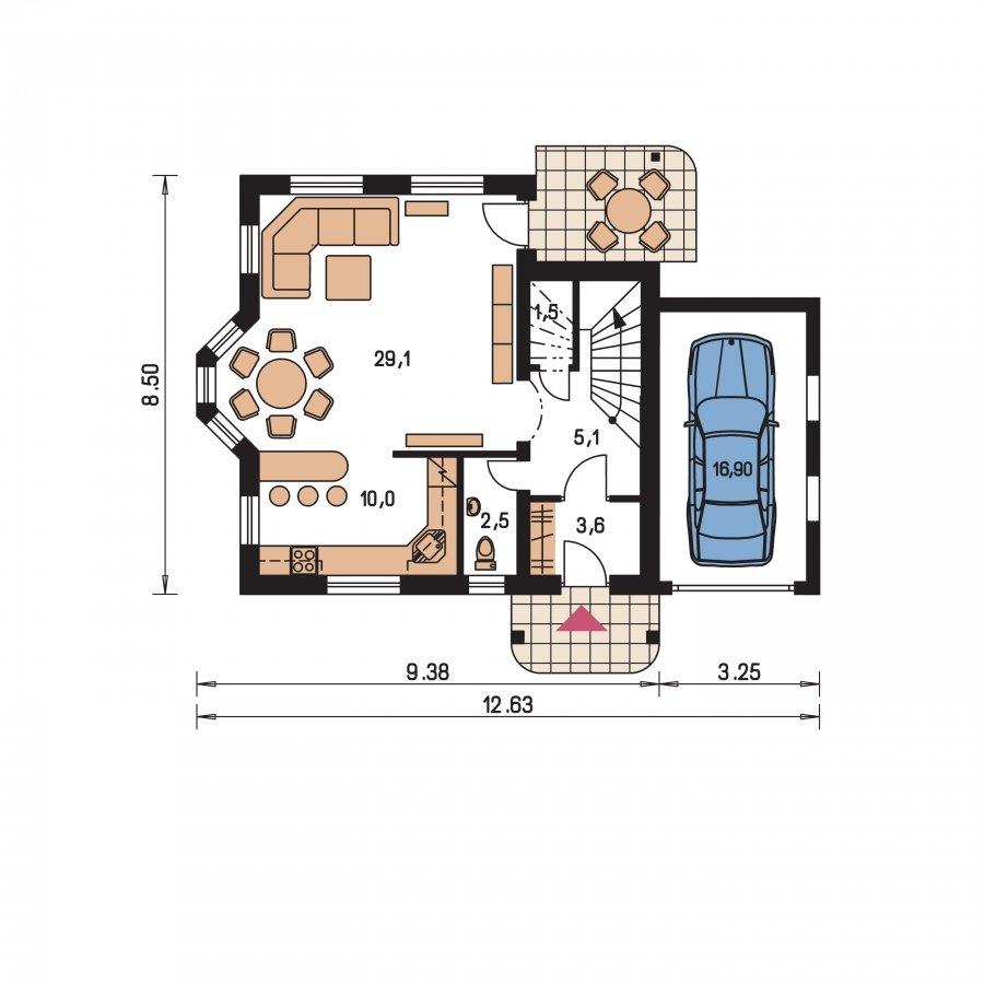 Pôdorys Prízemia - Dom vhodný ako dvojdom
