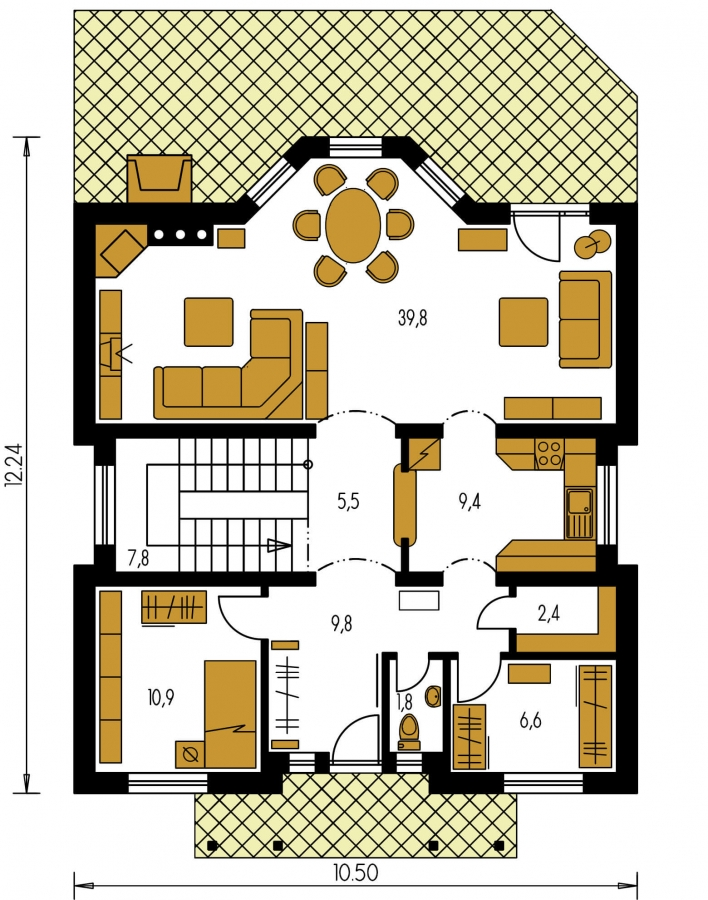 Pôdorys Prízemia - Klasický projekt rodinného domu