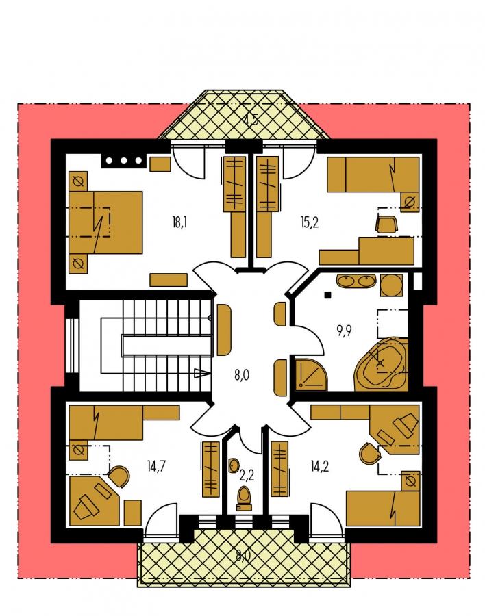 Pôdorys Poschodia - Klasický projekt rodinného domu