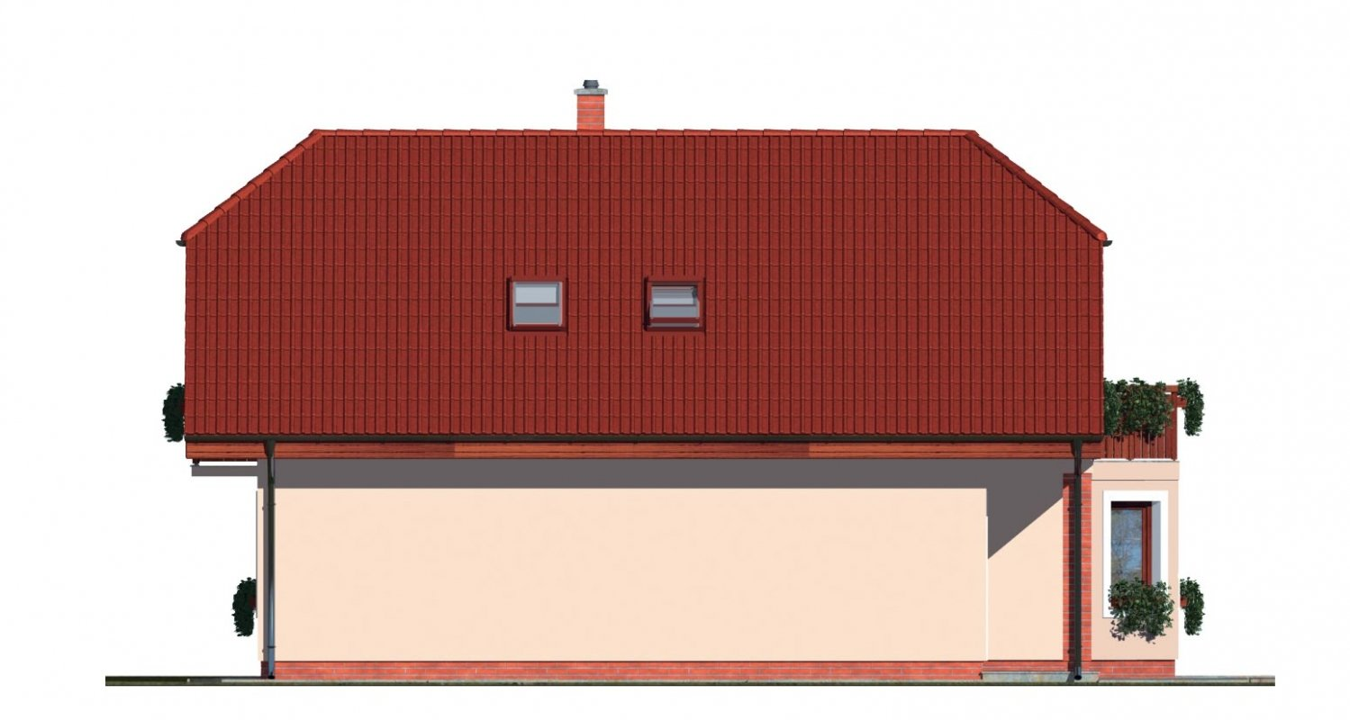 Pohľad 2. - Dom s izbou na prízemí, obytným podkrovím a garážou