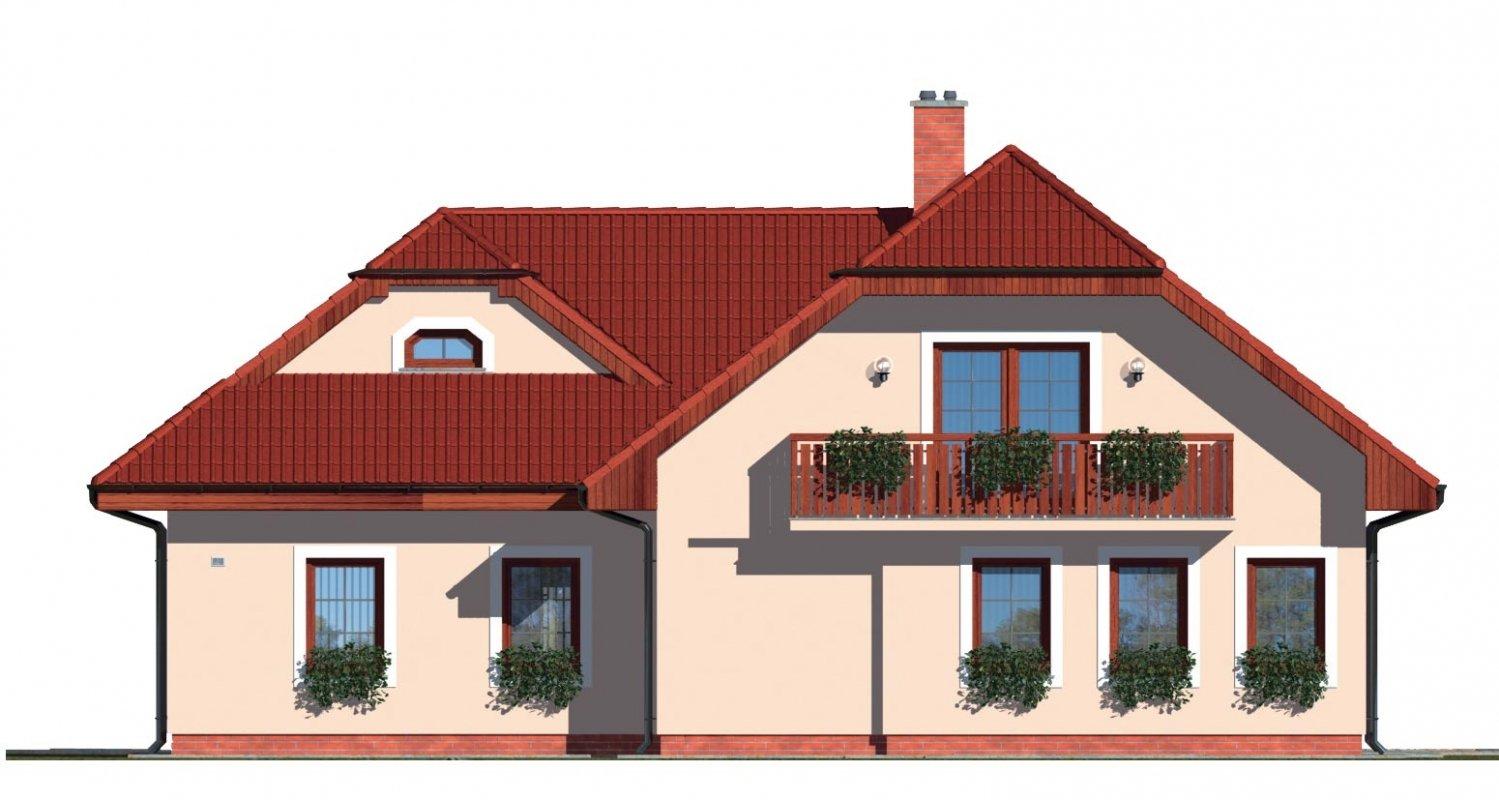 Pohľad 3. - Dom s izbou na prízemí, obytným podkrovím a garážou