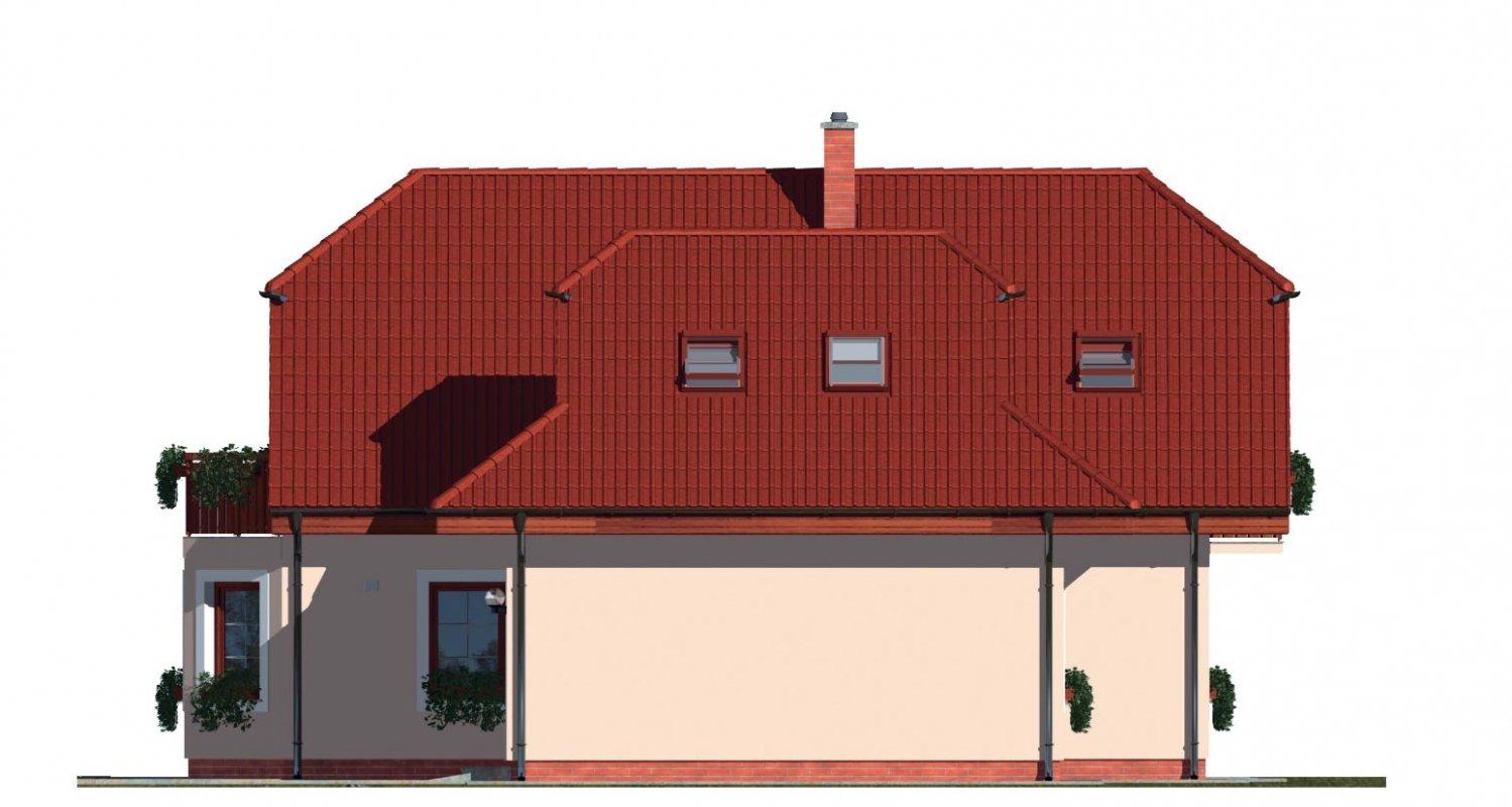 Pohľad 4. - Dom s izbou na prízemí, obytným podkrovím a garážou