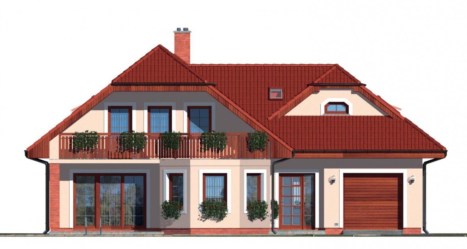 Pohľad 1. - Dom s izbou na prízemí, obytným podkrovím a garážou