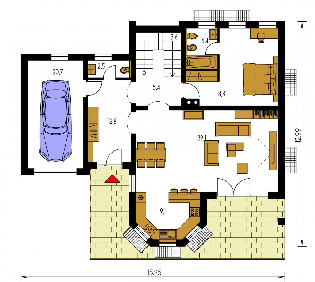 Pôdorys Prízemia - Dom s izbou na prízemí, rozľahlým suterénom, obytným podkrovím a garážou