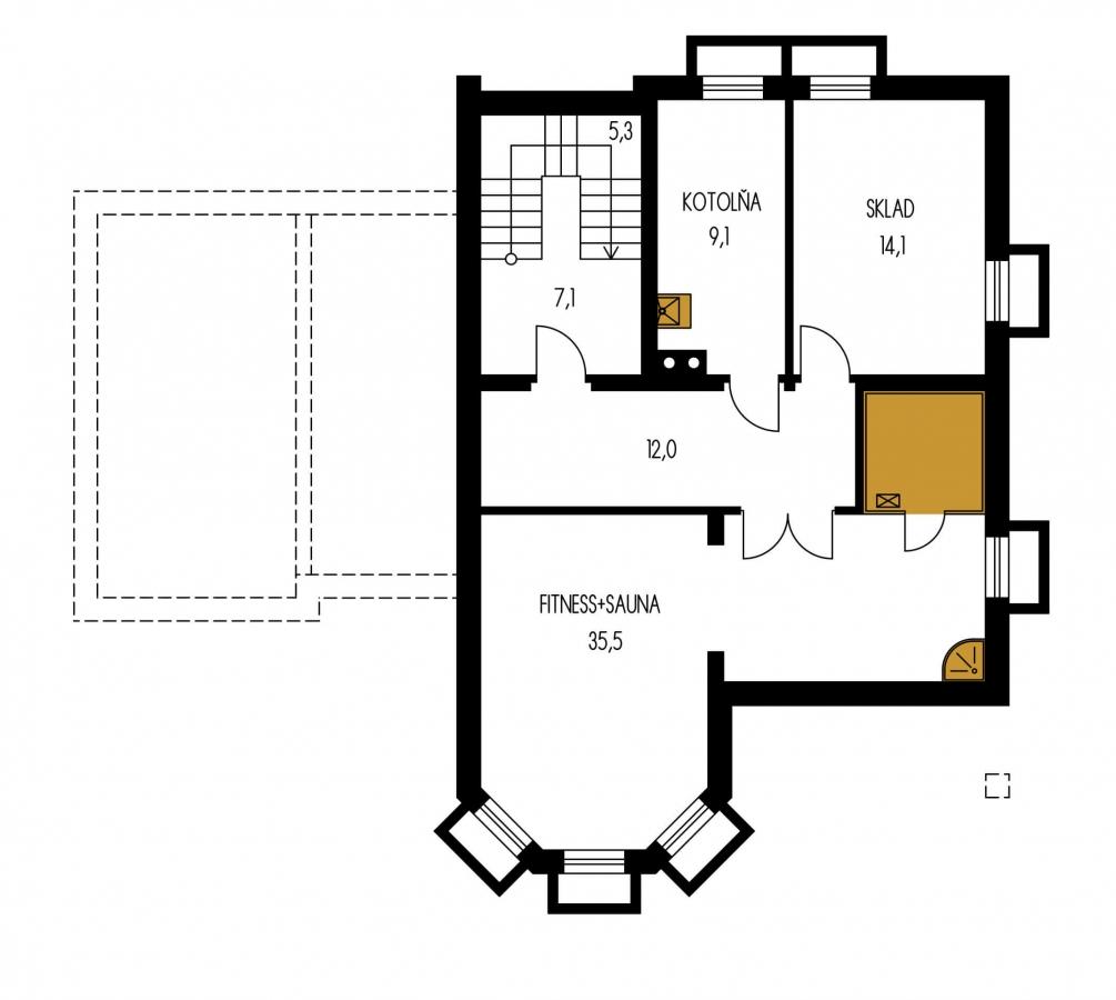 Pôdorys Suterénu - Dom s izbou na prízemí, rozľahlým suterénom, obytným podkrovím a garážou