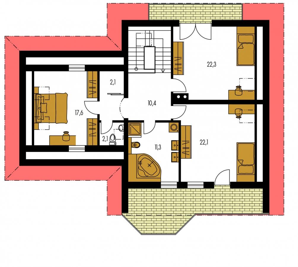 Pôdorys Poschodia - Dom s izbou na prízemí, rozľahlým suterénom, obytným podkrovím a garážou