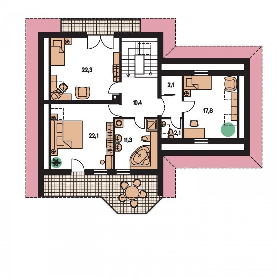 Pôdorys Poschodia - Dom s izbou na prízemí, obytným podkrovím a garážou