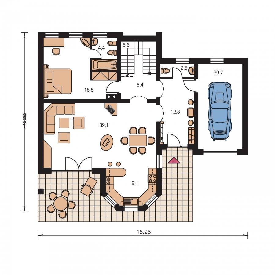 Pôdorys Prízemia - Dom s izbou na prízemí, obytným podkrovím a garážou