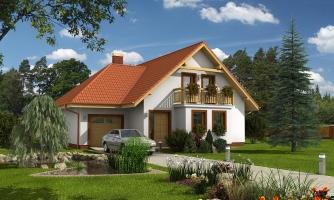 Projekt rodinného domu s veľkým suterénom, podkrovým a izbou na prízemí