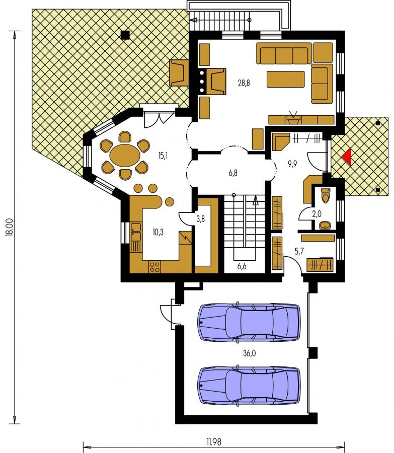 Pôdorys Prízemia - Projekt rodinného domu s veľkým suterénom, podkrovým a izbou na prízemí