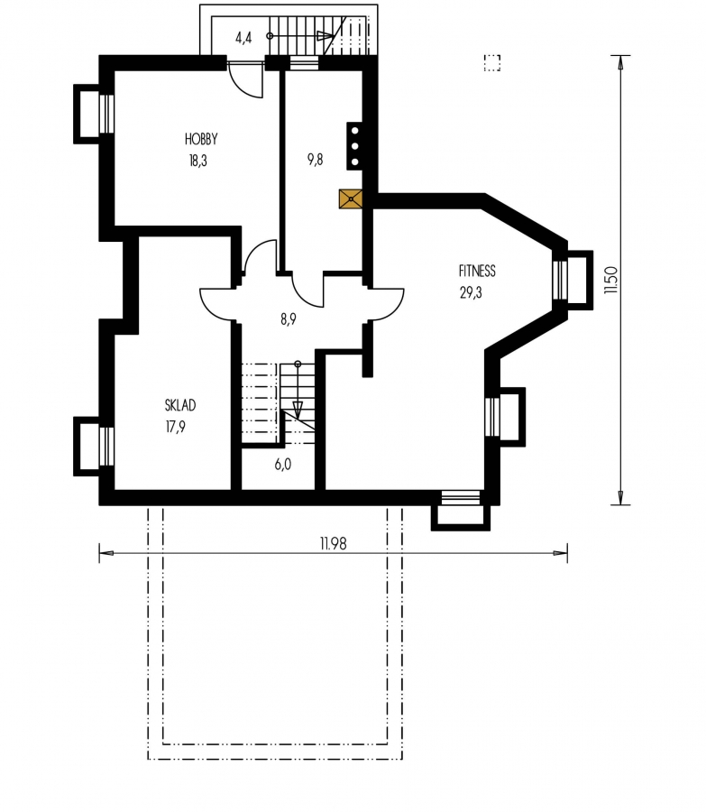 Pôdorys Suterénu - Projekt rodinného domu s veľkým suterénom, podkrovým a izbou na prízemí