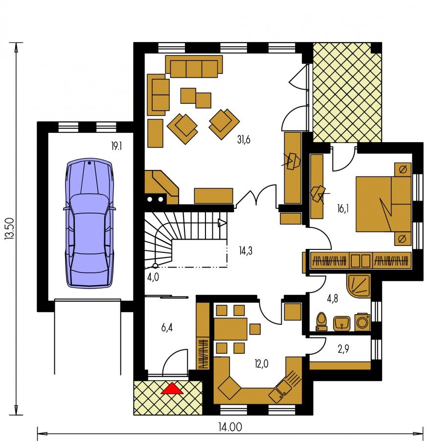 Pôdorys Prízemia - Projekt rodinného domu s veľkým suterénom, podkrovým a izbou na prízemí.