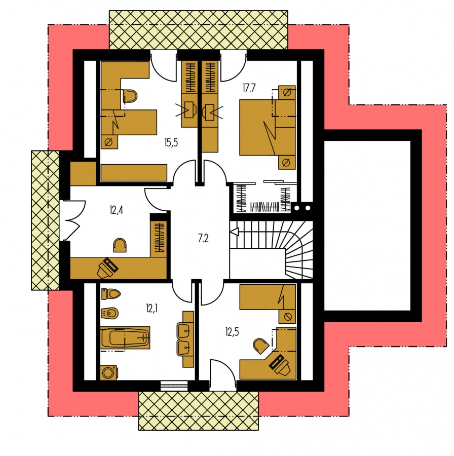 Pôdorys Poschodia - Projekt rodinného domu s veľkým suterénom, podkrovým a izbou na prízemí