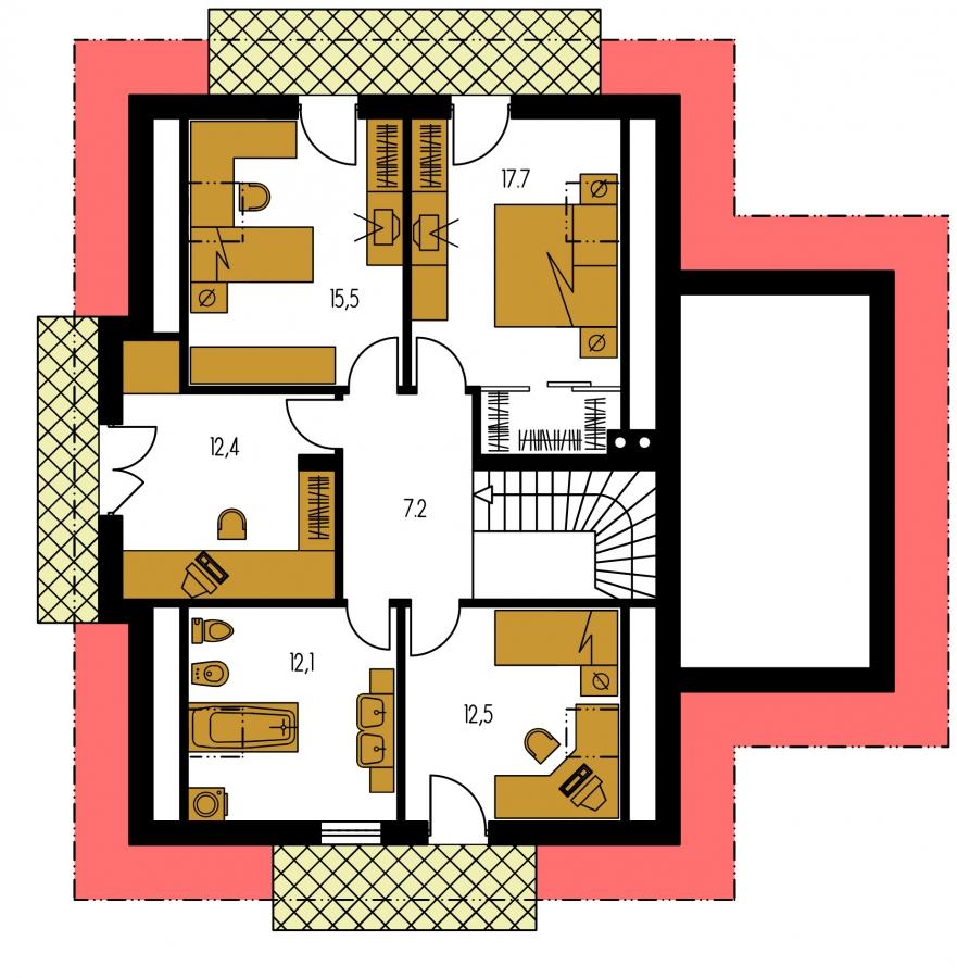 Pôdorys Poschodia - Projekt rodinného domu s veľkým suterénom, podkrovým a izbou na prízemí.