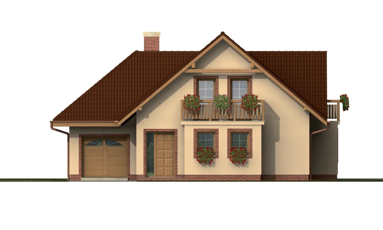 Pohľad 1. - Projekt rodinného domu s veľkým suterénom, podkrovým a izbou na prízemí.