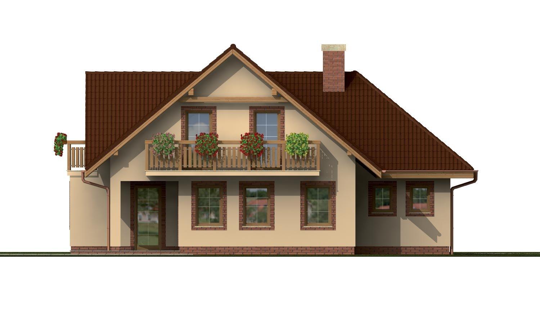 Pohľad 3. - Projekt rodinného domu s veľkým suterénom, podkrovým a izbou na prízemí.
