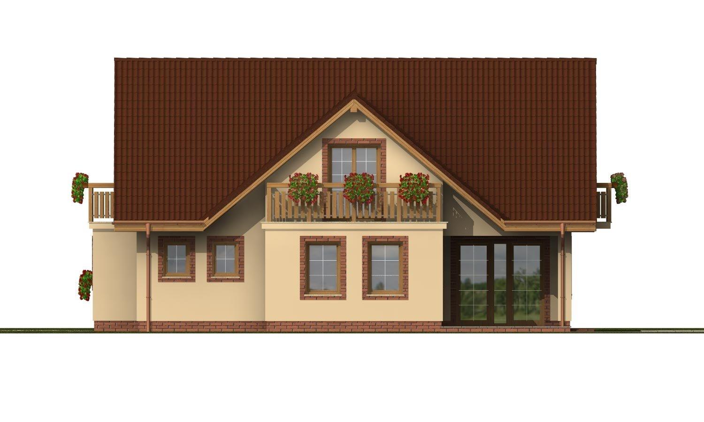 Pohľad 4. - Projekt rodinného domu s veľkým suterénom, podkrovým a izbou na prízemí.