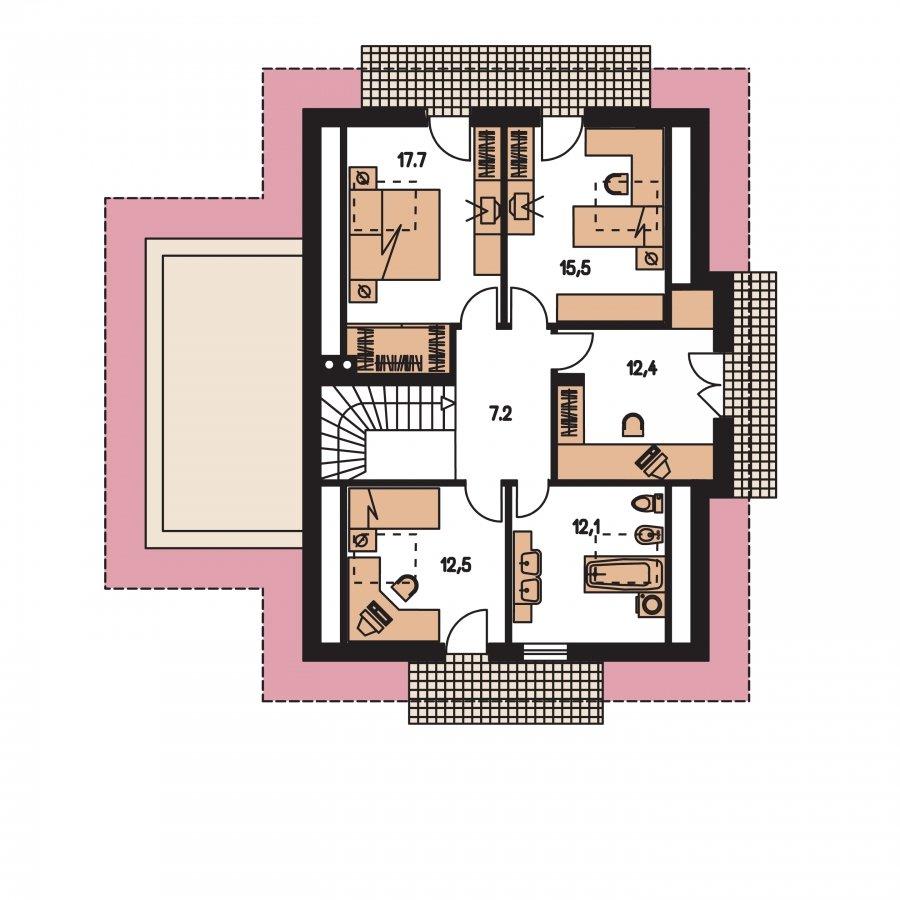 Pôdorys Poschodia - Projekt rodinného domu podkrovný,izba na prízemí a garáž