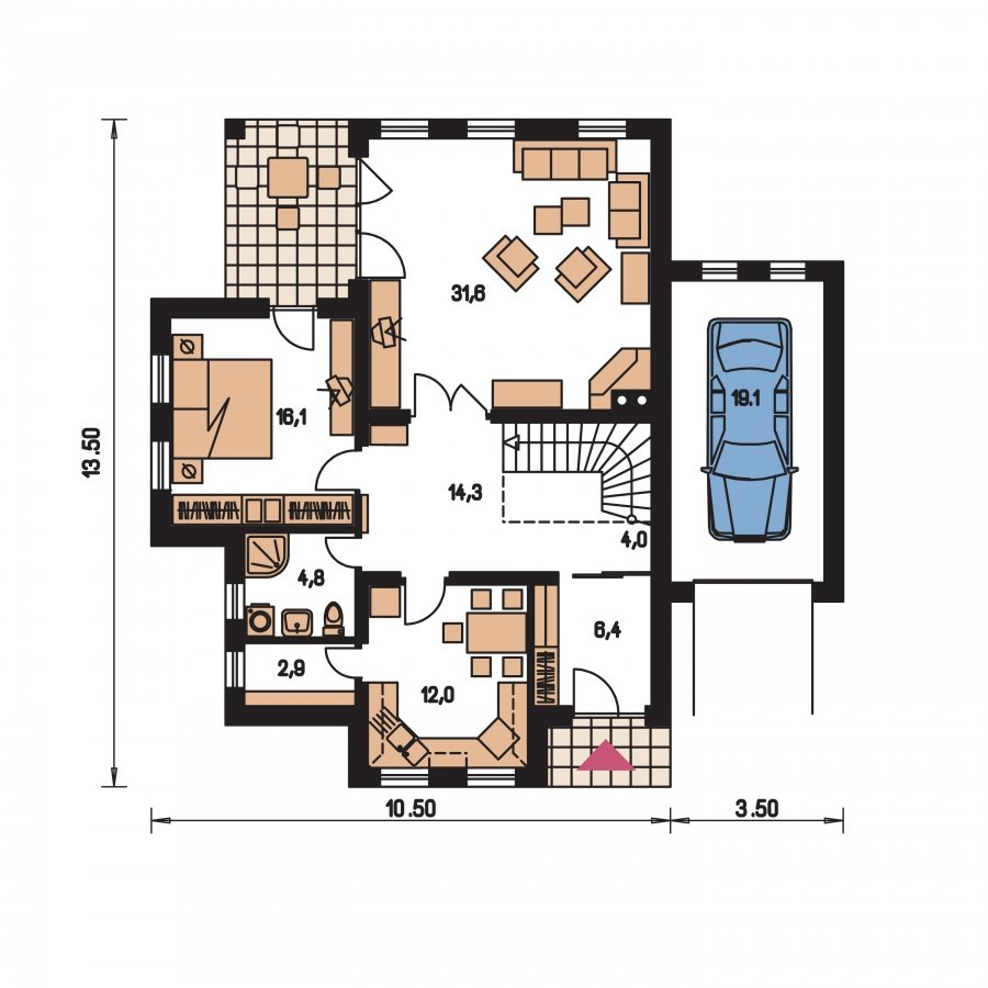 Pôdorys Prízemia - Projekt rodinného domu podkrovný,izba na prízemí a garáž