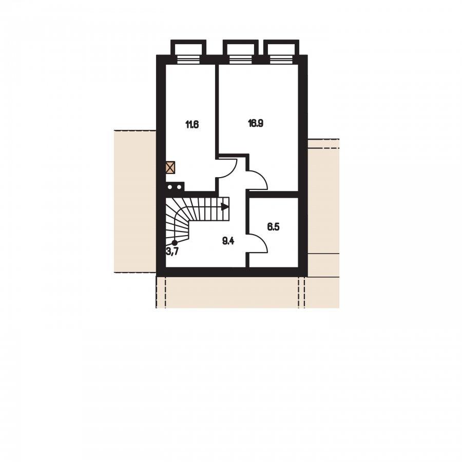 Pôdorys Suterénu - Projekt rodinného domu podkrovný,izba na prízemí a garáž