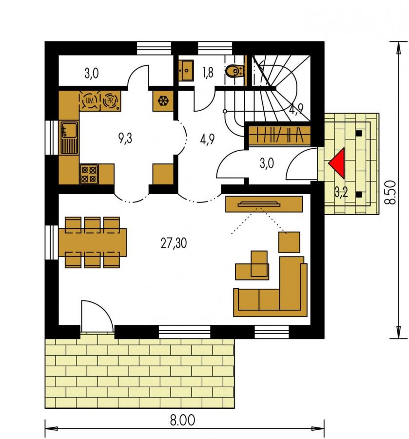Pôdorys Prízemia - Podkrovný rodinný dom vhodný aj ako chata.