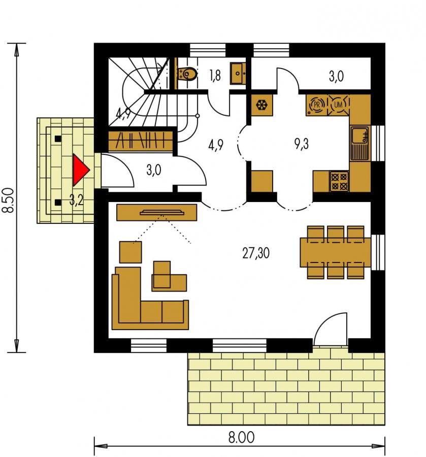 Pôdorys Prízemia - Podkrovný rodinný dom