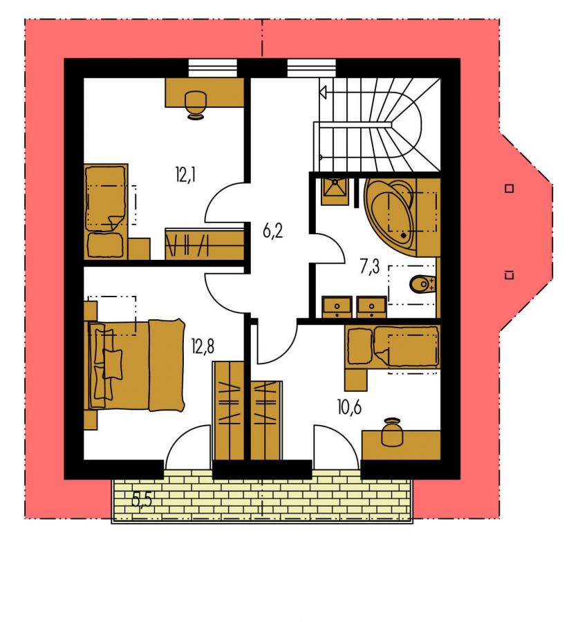 Pôdorys Poschodia - Podkrovný rodinný dom vhodný aj ako chata.