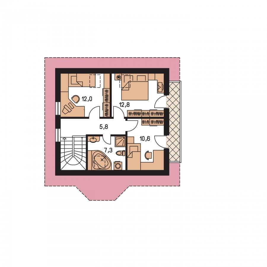 Pôdorys Poschodia - Podkrovný rodinný dom