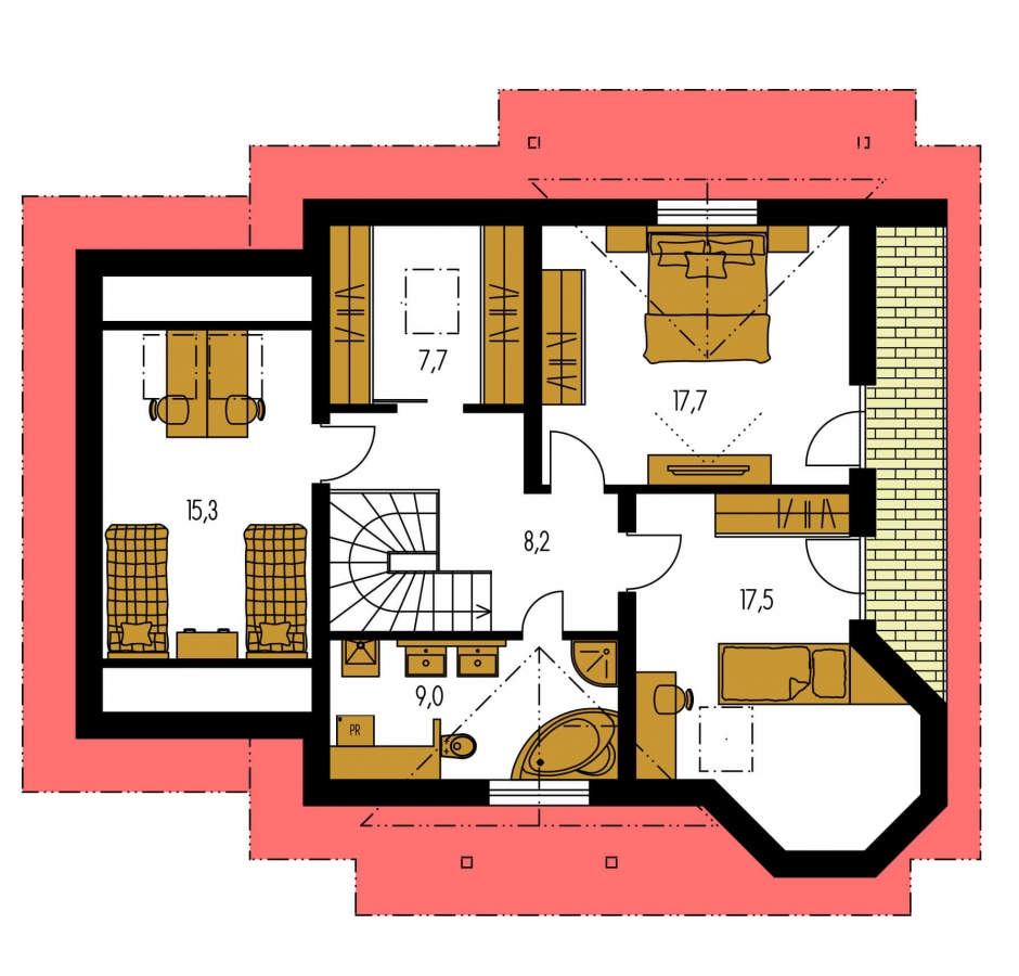Pôdorys Poschodia - Podkrovný projekt so sedlovou strechou a garážou.