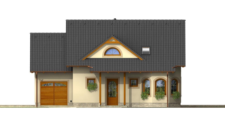 Pohľad 1. - Podkrovný projekt so sedlovou strechou a garážou.