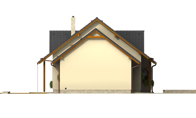 Pohľad 2. - Podkrovný projekt so sedlovou strechou a garážou.