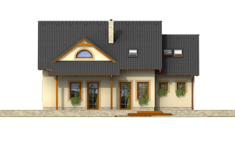 Pohľad 3. - Podkrovný projekt so sedlovou strechou a garážou.