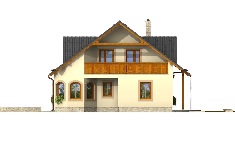 Pohľad 4. - Podkrovný projekt so sedlovou strechou a garážou.
