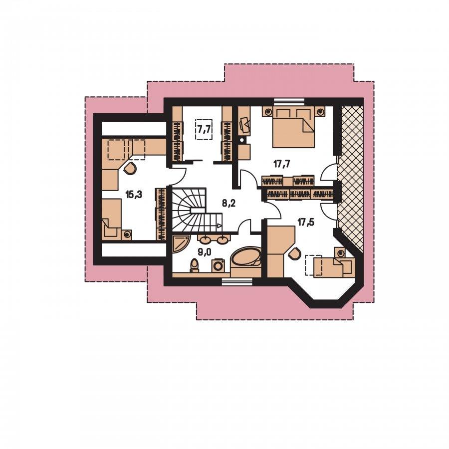 Pôdorys Poschodia - Podkrovný projekt so sedlovou strechou a garážou