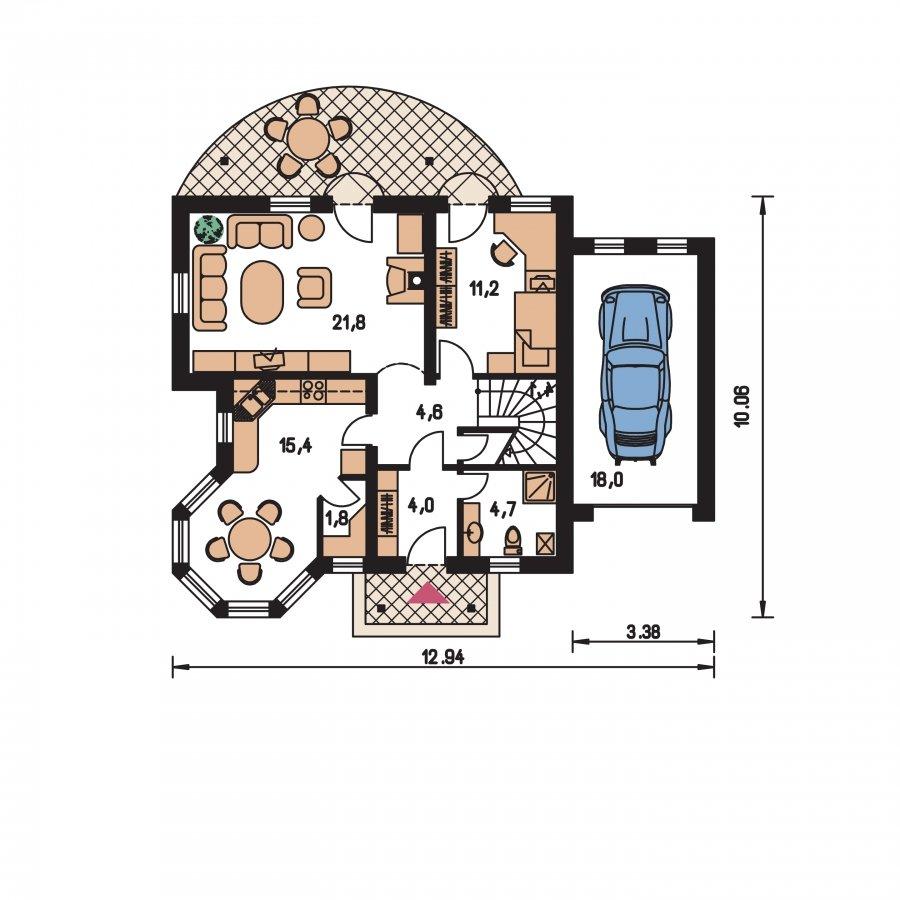 Pôdorys Prízemia - Podkrovný projekt so sedlovou strechou a garážou