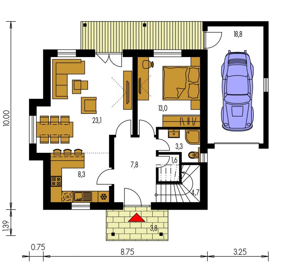 Pôdorys Prízemia - Malý 5-izbový dom s garážou.