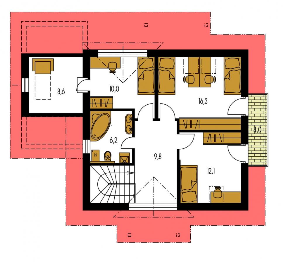 Pôdorys Poschodia - Malý 5-izbový dom s garážou.