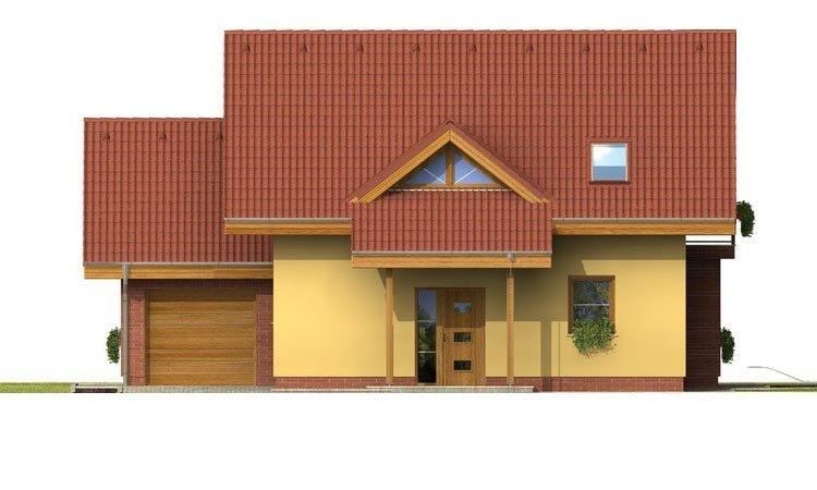 Pohľad 1. - Malý 5-izbový dom s garážou.