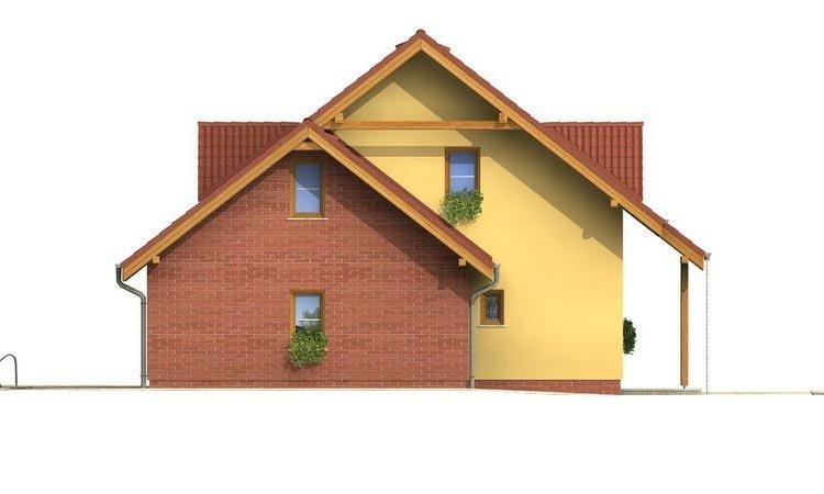 Pohľad 2. - Malý 5-izbový dom s garážou.