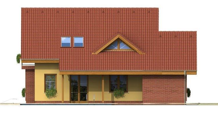 Pohľad 3. - Malý 5-izbový dom s garážou.